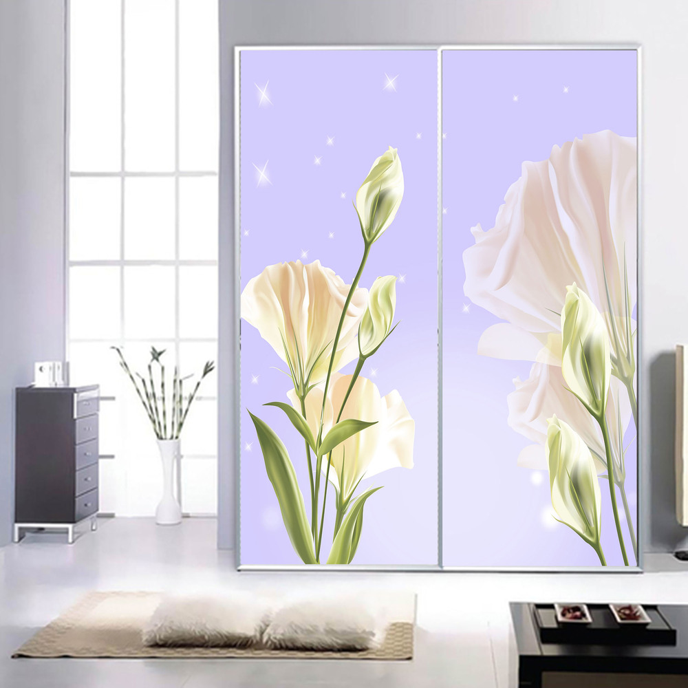 Privacy stickers on the window sliding door wardrobe custom foil stickers decorative stained glass opaque film Tulips(China (Mainland))