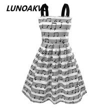 Summer New Women's Fashion Straps Sweet musical note Printing chiffon Tall Waist Princess party Dress evening(China (Mainland))