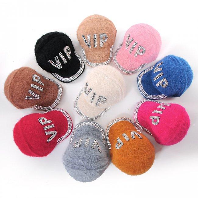 City life fashion millinery vip letter rhinestone solid color rabbit fur baseball cap warm hat(China (Mainland))