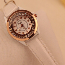 2016 black/white Hot Luxury Brand Diamond Fashion Rhinestone Watch Women Casual Leather Clock Female Quartz Ladies Wristwatch