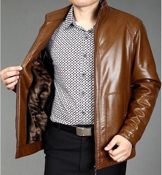 Новый 2014 Овчины Пальто Для Мужчин Зима Осень мужская Из Натуральной Кожи Куртка Мужчины Мужские Кожаные Куртки И Пальто Freeshipping B2288