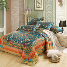 Classic golden print Pattern Egypt Cotton bedding set 4pc bedclothes Queen size Duvet/Blanket cover sets without Comforter(China (Mainland))