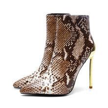 Extreem 12 cm goud hoge hakken gladiator korte laarzen party snake skin PU leather puntige teen enkellaars voor vrouwen winter schoenen(China)