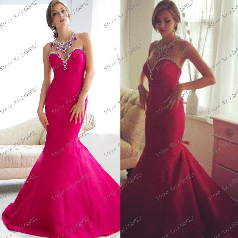 Spring 2015 New Arrival Crystal Mermaid Dresses O Neck Fuschia Eveneign Dresseds Taffeta Formal Gowns vNew Arrival High Quality(China (Mainland))
