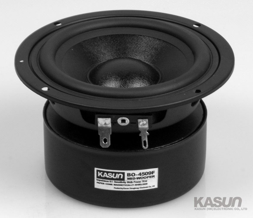 Kasun BO-4509F 4'' midrange speaker magnetism shielded textile cone mid-woofer power handling 70W(China (Mainland))