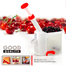 1pcs Novelty Super Cherry Pitter Stone Remover Machine Cherry Corer With Container Kitchen Tool wholesale 2016 New Arrival(China (Mainland))