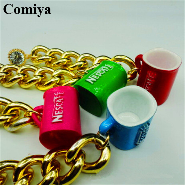 basket femme fashion thick gold color chain coffee cup charm drop earrings for women jewelleries pendientes wholesale cc earring in drop earrings from - Basket Femme Color