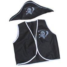 SCYL 7 Pcs Children Kid Classic Pirate Costume Halloween cosplay costumes skull eye vest hat blinder