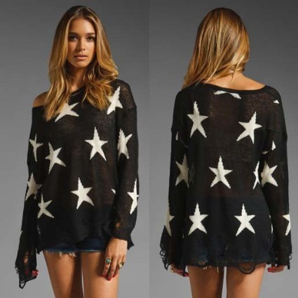 East Knitting AS-012 Women Fashion Pullover Knitwear Sweater Star Tops Free shipping(China (Mainland))