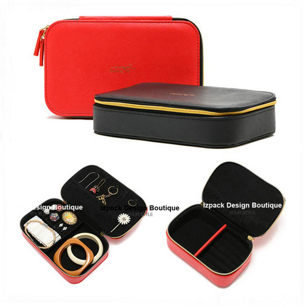 Designer 2 size leatherette Zipper Multi-function Jewelry box Travel Jewellery box Ring Cufflink organizer(China (Mainland))