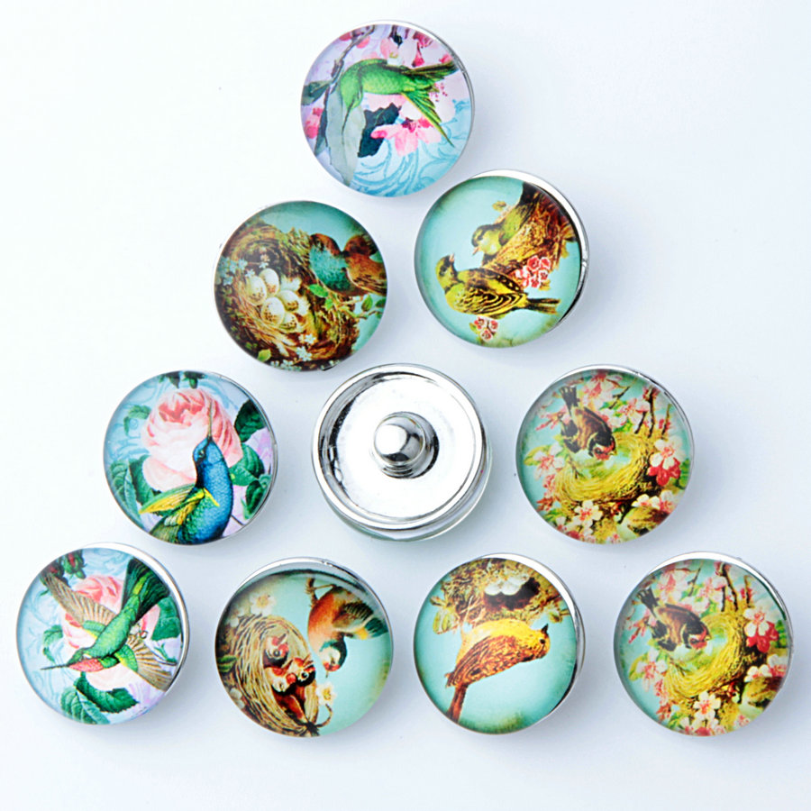 10 pcs/lot Rose and Birds Chinese Style DIY Charms Snap Button Metal Ginger 18mm snap button Findings for bracelet NZ12-065(China (Mainland))