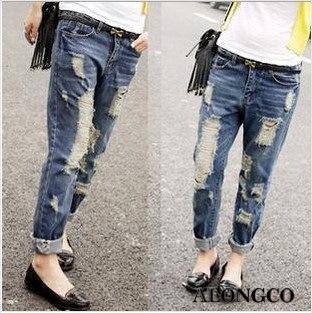 Straight Leg Ripped Jeans - Jon Jean