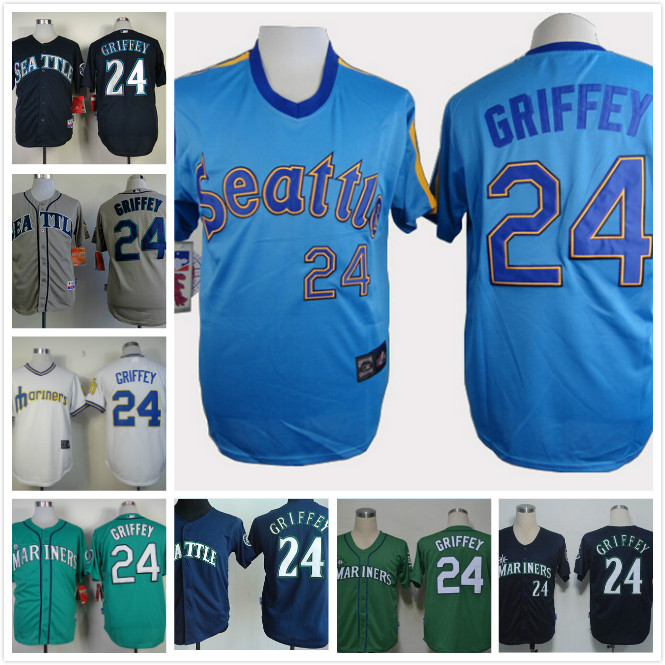 Seattle Mariners #24 Ken Griffey White Gray Green Blue Throwback Baseball Jersey All are stitched Wholesale(China (Mainland))
