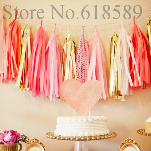 Free Shipping Birthday Party Decorations Kids Tissue Paper Tassel Garland Baby Shower Decorations(China (Mainland))