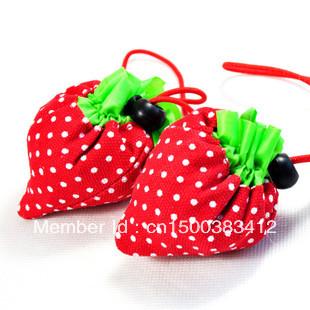 Free shipping strawberry shopping bag / portable bags / mini retractable travel bag(China (Mainland))