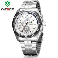 Lujo WEIDE marca Casual relojes deportivos para hombres llenos de acero reloj militar del cuarzo de japón pantalla analógica de vestir de negocios