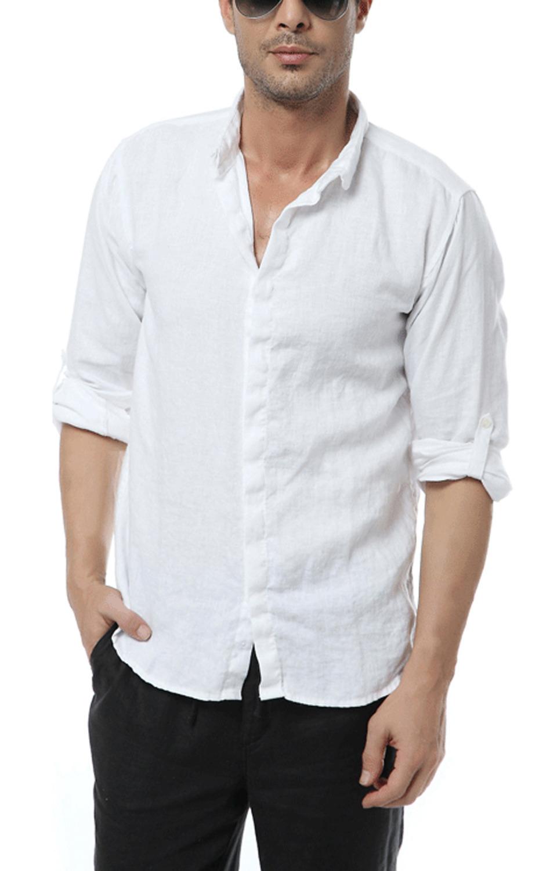 2015 Men Shirt Chinese Style Vintage Linen Shirt Men Long