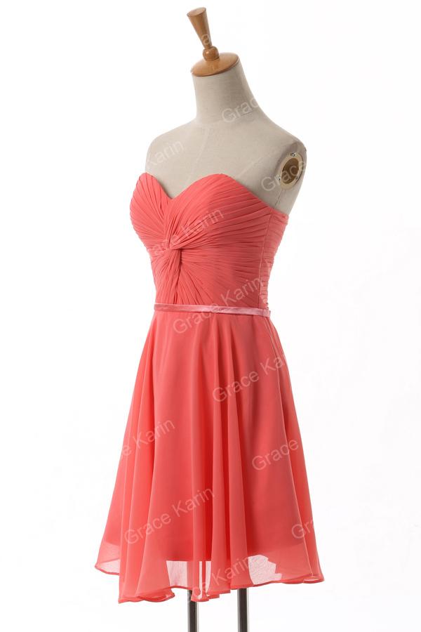 Грейс карин шифон арбуз красный длиной до колен короткие выпускные платья для студента милая платье из 6297