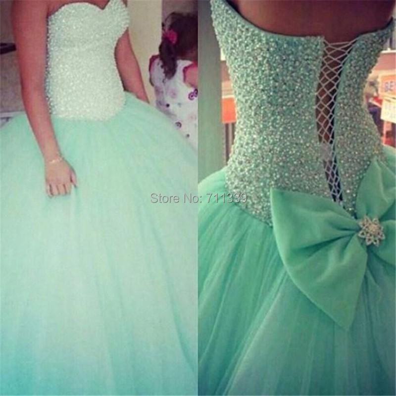 Mint Green Tulle Ball Gown Quinceanera Dress 2015 New Crystal Party Prom Dresses - Mengli Li's store