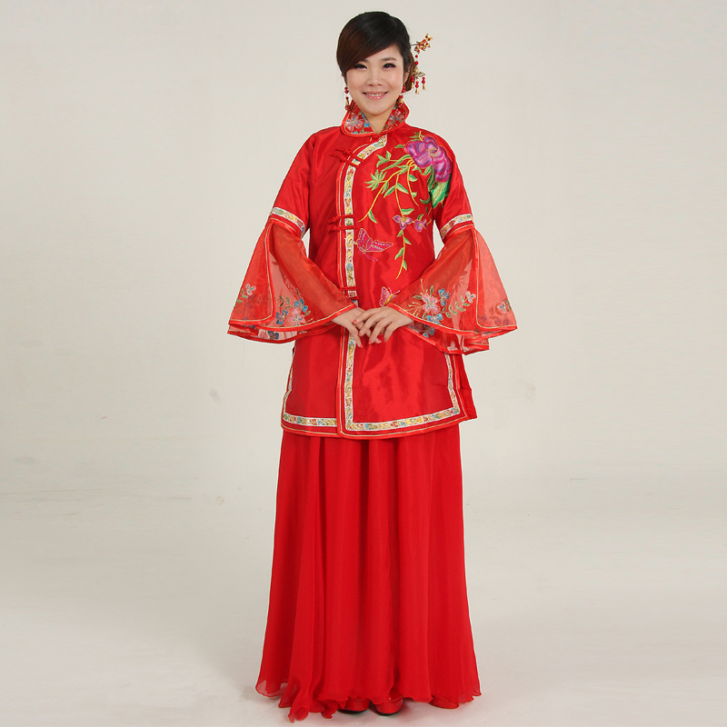 The bride married cheongsam formal dress clothing fashion show bluegrass of improved cheongsam dress chinese style design(China (Mainland))