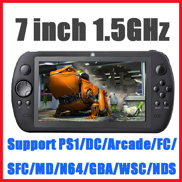 "7"" Black 1.5GHz 8GB 5 Point Capacity Touch Screen Handheld Game Player Support PS1/DC/Arcade/FC/SFC/MD/N64/GBA/WSC/NDS Games(China (Mainland))"