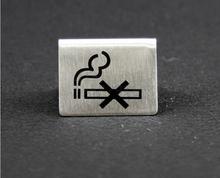 10pcs Restaurant &Hotel Creative Design Small Size Matte Metal No-smoking Logo Sign Display(China (Mainland))