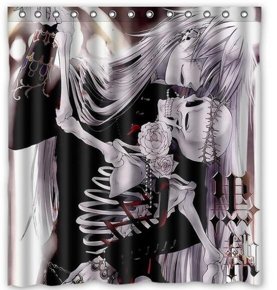 Free Shipping black butler Kiss skull Custom Shower Curtain Home Decor Waterproof Fabric Fashion Bath Curtain #SCN-087