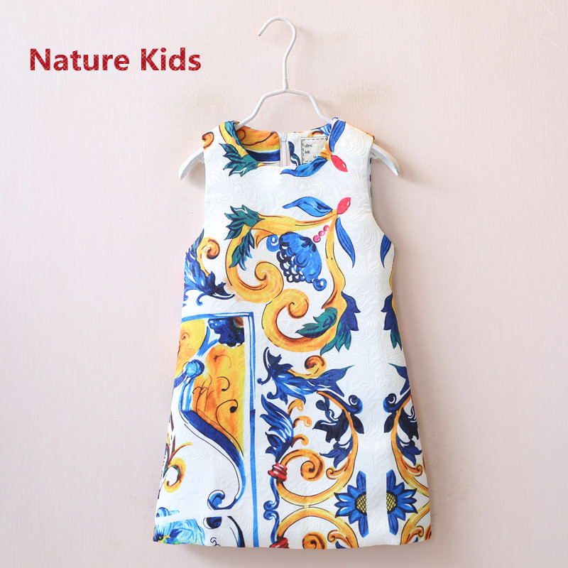 Retail High Quality Dobby Fabric Multi Majolica Print Sleeveless Children Girl Dress Kids A-Line White Sundress 2016 Autumn(China (Mainland))