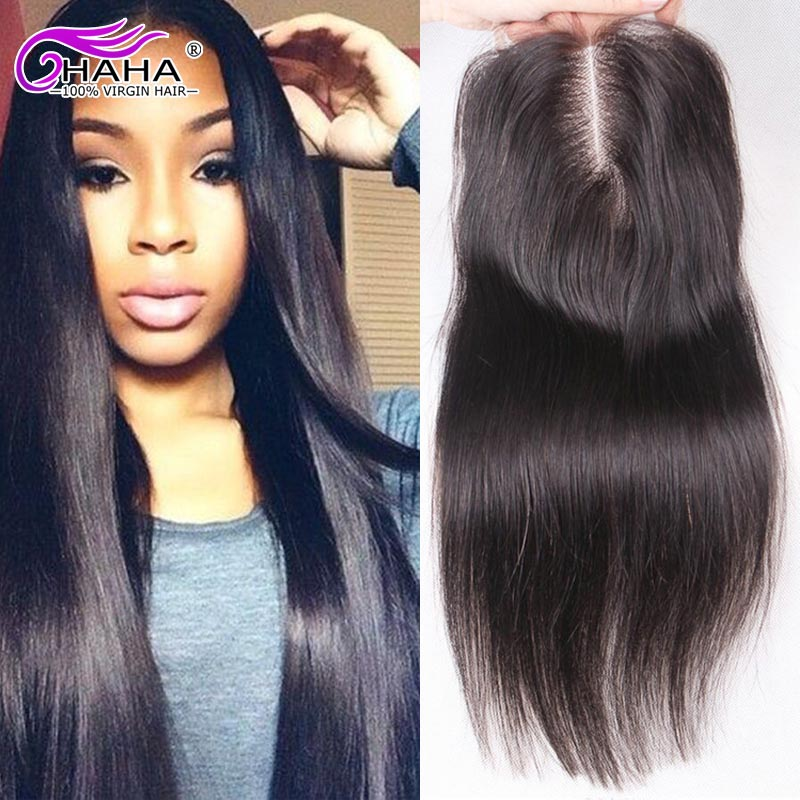 Top 7A Grade Natural 1b 100% Virgin Peruvian Hair Lace Closures Free Middle 3 Part Straight Human Hair Lace Closure With Bangs<br><br>Aliexpress