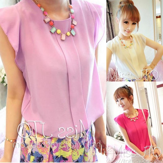 2013 fashion chiffon shirt loose small low-high butterfly sleeve solid color all-match top