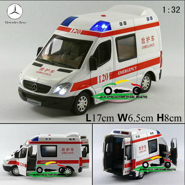New Mercedes-Benz 1:32 Diecast Ambulance Model Car with Sound and Light Toy collection Alloy Car Model Wholesale Free Shipping(China (Mainland))