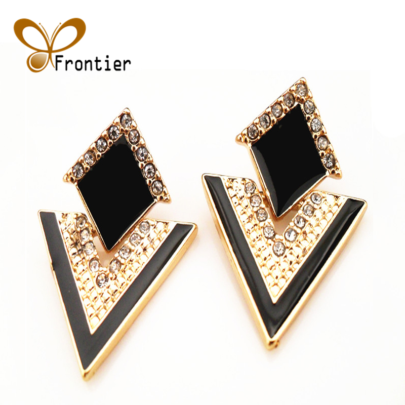 Fashion Accessories Jewelry Vintage Brand Crystal Stud Earrings For Women E057 Frontier(China (Mainland))