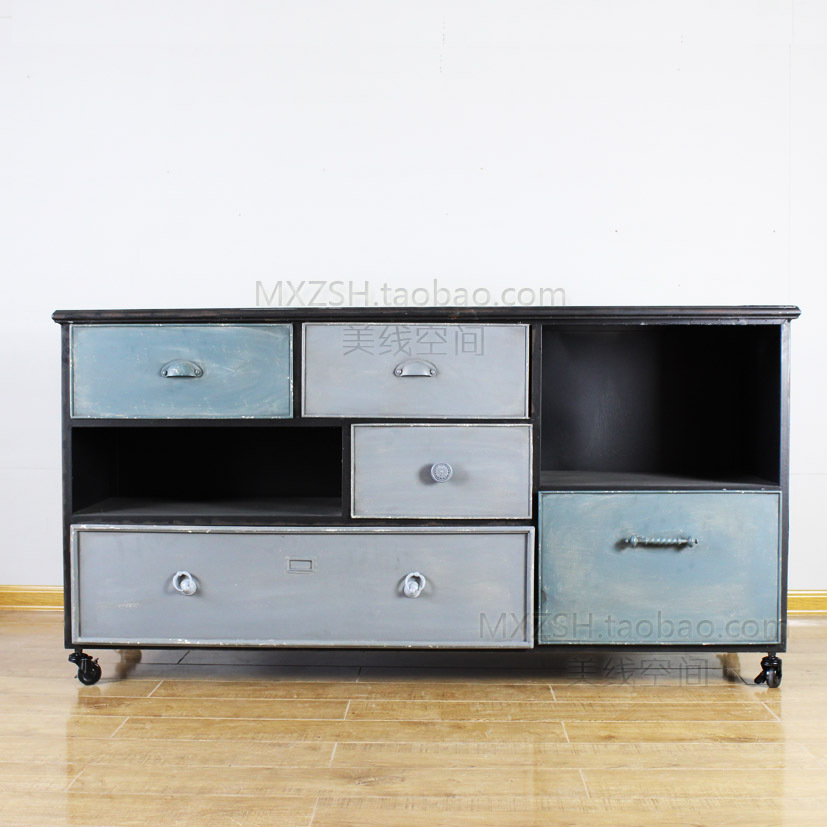 LOFT mining and wind do the old retro American French country furniture, wrought iron entrance door Cabinet Office lockers(China (Mainland))