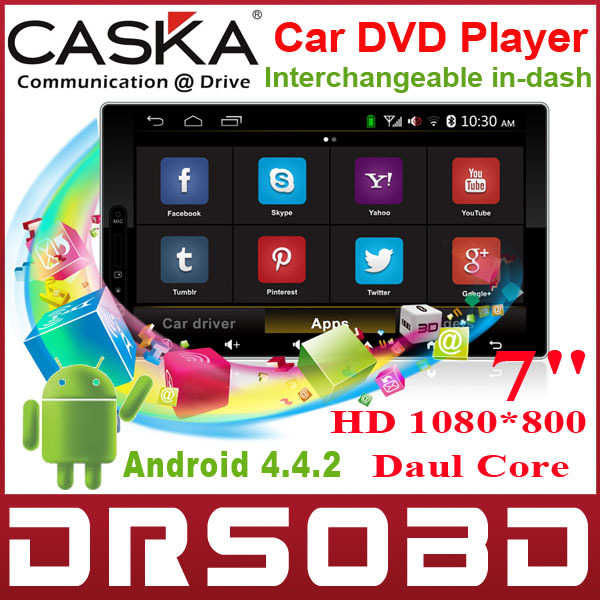 7'' 1280*800 CASKA Interchangeable Car DVD Player Android 4.4.2 OEM standard in-dash Suitable for all car models car GPS DVD(China (Mainland))