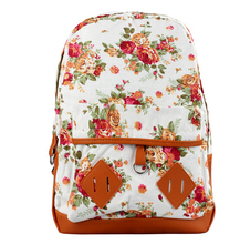 Students Backpack Travel Oversize Flower Printed Canvas Book Satchel  Shoulder Bag School Rucksack School Bags For Teenagers(China (Mainland))