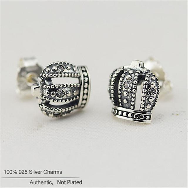 S925 стерлингового серебра королевская корона стад серьги с четкими CZ для женщин DIY украшения матч известная марка ювелирных изделий летний стиль