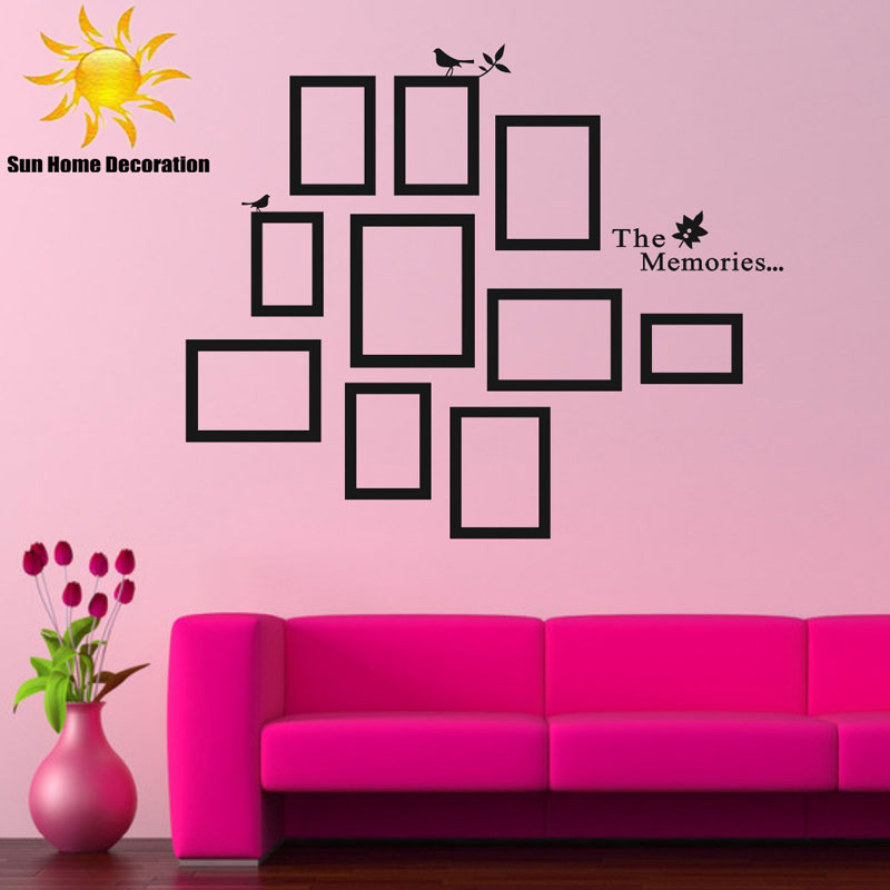 Buy Diy Photo Frame Black Removable Vinyl Wall Stickers Decals Quote Living