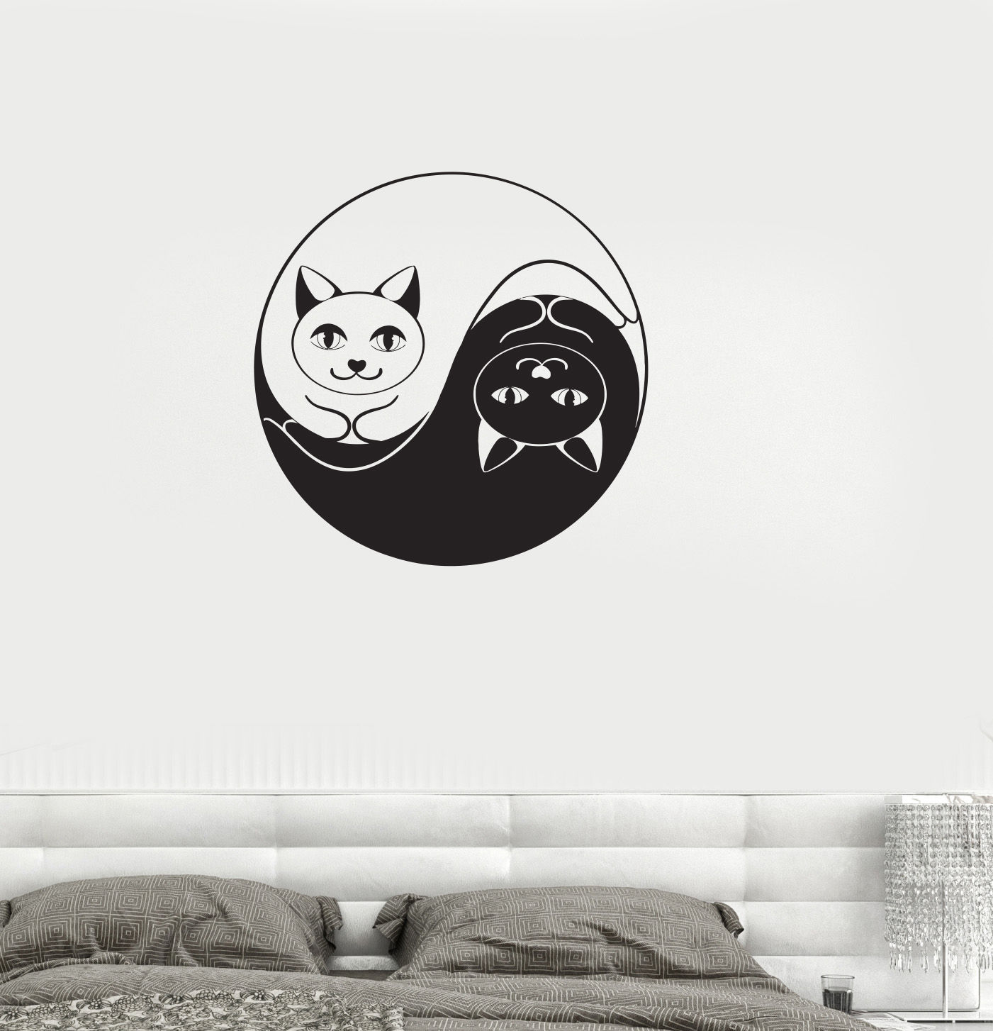 animal Vinyl Decal Yin Yang Cat Dao Taoism Zen Bedroom Decor Wall Stickers free shipping(China (Mainland))