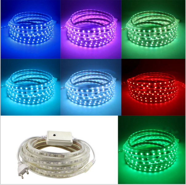 Super bright 5050 AC 220V led strip flexible light 1M/2M/3M/4M/5M//10M/15M/20M +Power Plug,60leds/m Waterproof led light lamp