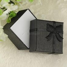 24pcs/lot 4*4*3cm jewelry earring bracelet ring gift boxes black square carton bow case ES4548(China (Mainland))