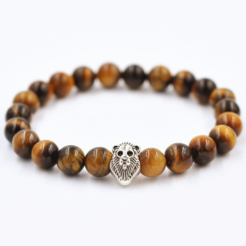 2016 Fashion Natural Brown Agate Lucky Buddha beads Silver Lion Head Bracelett For Women And Men Jewelry(China (Mainland))