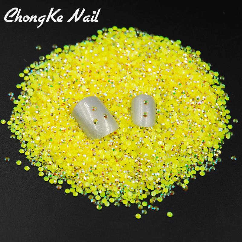 Hot Sale Beauty Approx 2000pcs/bag 2mm Jelly Citrine AB Color Flat Back Rhinestone Resin Nail Art Rhinestones(China (Mainland))