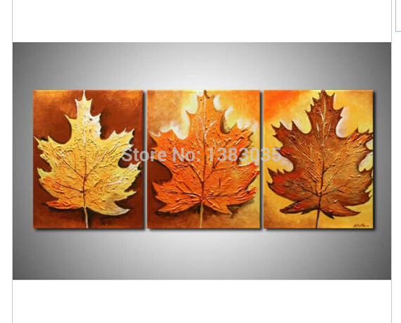 Hand Painted Still Life Oil Painting On Canvas 3 Piece Modern Abstract Leaves Wall Art Home Decoration Picture Set(China (Mainland))