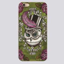 Victorian Owl in Top Hat Design case cover cell mobile phone cases for Apple iphone 4 4s 5 5c 5s 6 6s 6plus hard shell