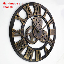 Handmade Oversized 3D retro rustic big gear wooden wall clock