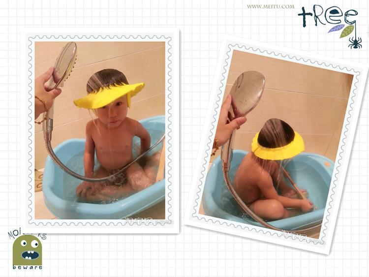 Горячая регулируемый удобный детские ребенка дети уха шампунь ванна шапочка для душа Hat мытья волос