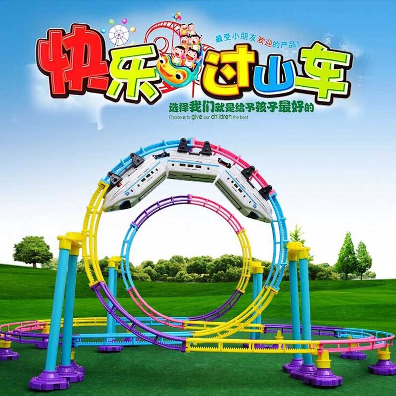 Kids Electric Train Toy 113 Pcs / Set Electric Rail Car Railway Toy 3D RailRoad Tracks Toy Trains For Kids Gift Christmas(China (Mainland))