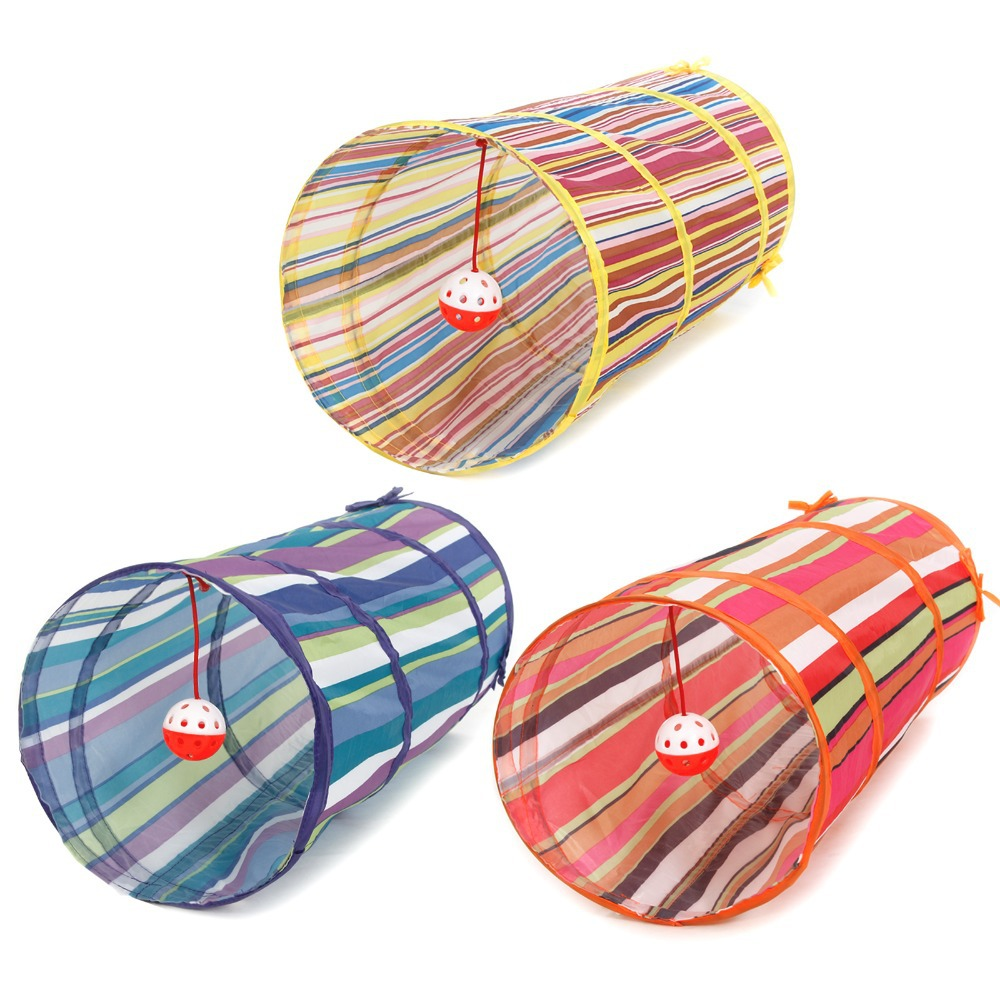 Collapsible Colorful Bulk Cat Play Tunnel Crinkle With Ring Bell Kitten Play Toy Rabbit Play Tunnel 3 Colors(China (Mainland))