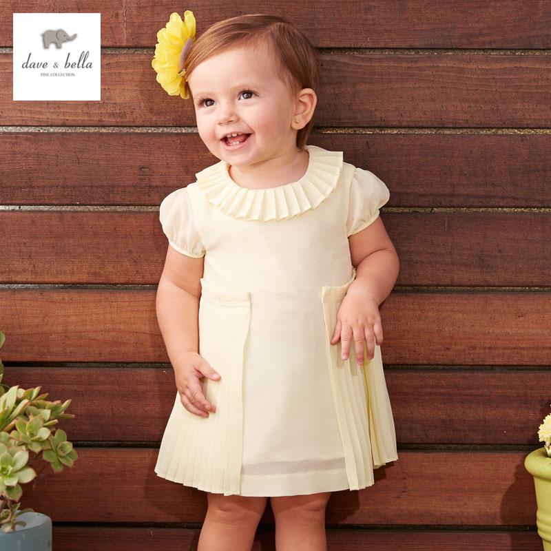 DB3407 dave bella summer baby girl ruched princess dress baby cute dress kids yellow birthday clothes dress children costumes(China (Mainland))