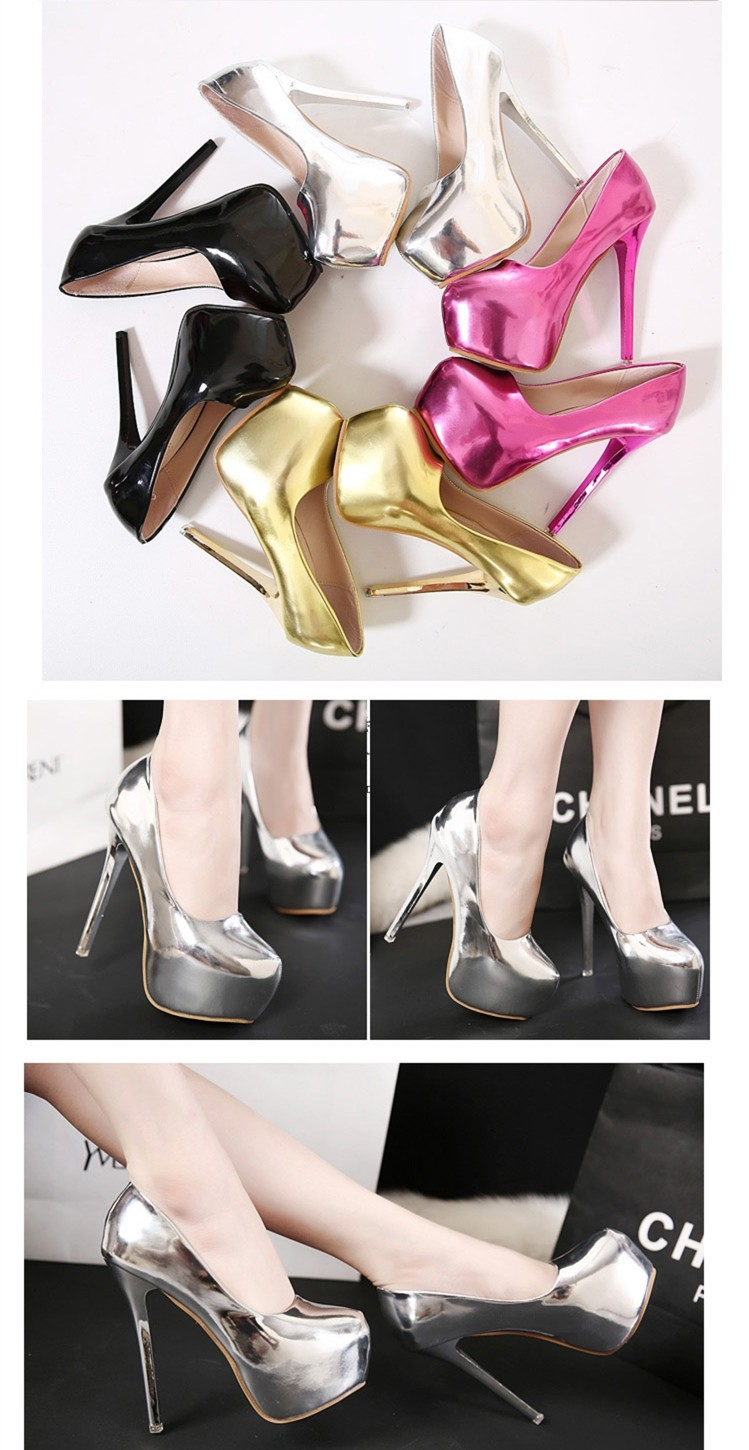 Size 4~8 Shiny Golden Party Women Shoes High Heels Autumn Fashion Shoes Women Pumps zapatos mujer
